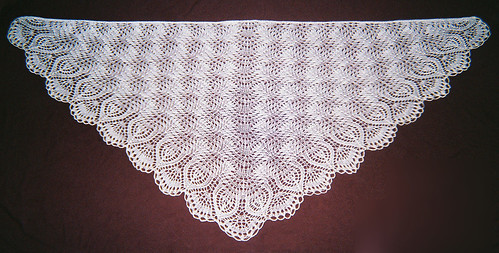 Ostrich Plumes Shawl - Crochet Chain Finish - Full View