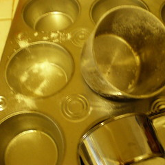 baking tins and flour on counter
