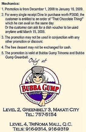 Bubba Gump That Chocolate Thing Promo
