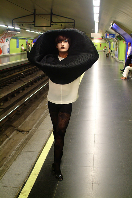 yogurinha borova dressed with ISSEY MIYAKE CLOTHES in SUBWAY ( MADRID ) by BLOODYGOL