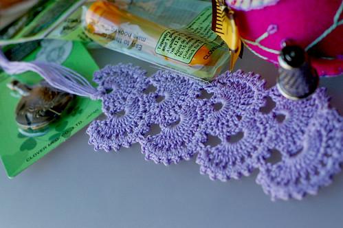 Fan crochet bookmark handmade by Delana