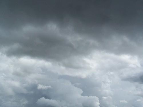 Huge dark storm clouds over the southwestern USA