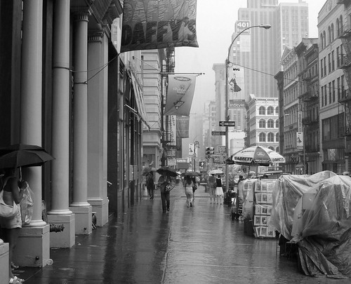 Rain on Broadway, SOHO, New York City, b/w by Tony the Misfit