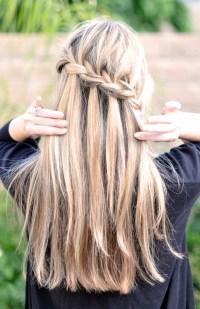 French Braid w/ Cascading Hair Tutorial // DIY Waterfall ...