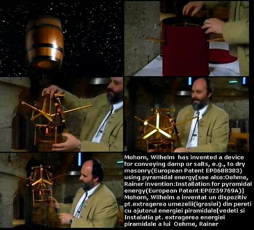 Mohorn, Wilhelm has invented a device for conveying damp or salts, e.g., to dry masonry(European Patent EP0688383) using pyramidal energy[see also:Oehme, Rainer invention:Installation for pyramidal energy(European Patent:EP0259769A)]