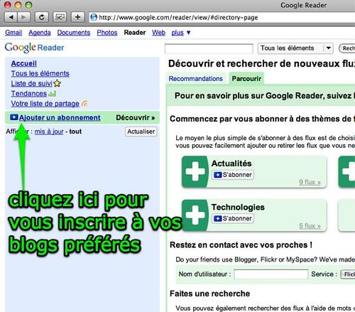 Google Reader: ajouter un abonnement