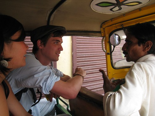 Dan negotiates with the autorickshaw driver as Laura and I look on