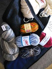 Bag of knitting goodies