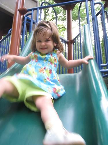 Big Girl going down the Big Slide!