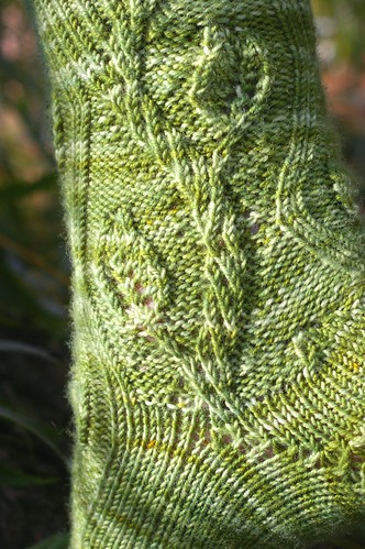 green forked sock twisty column