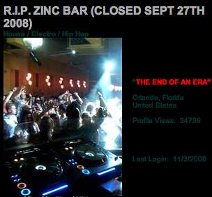 Zinc Bar MySpace profile screenshot