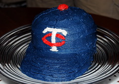 Jon's mom made Jon a Minnesota Twins hat cake