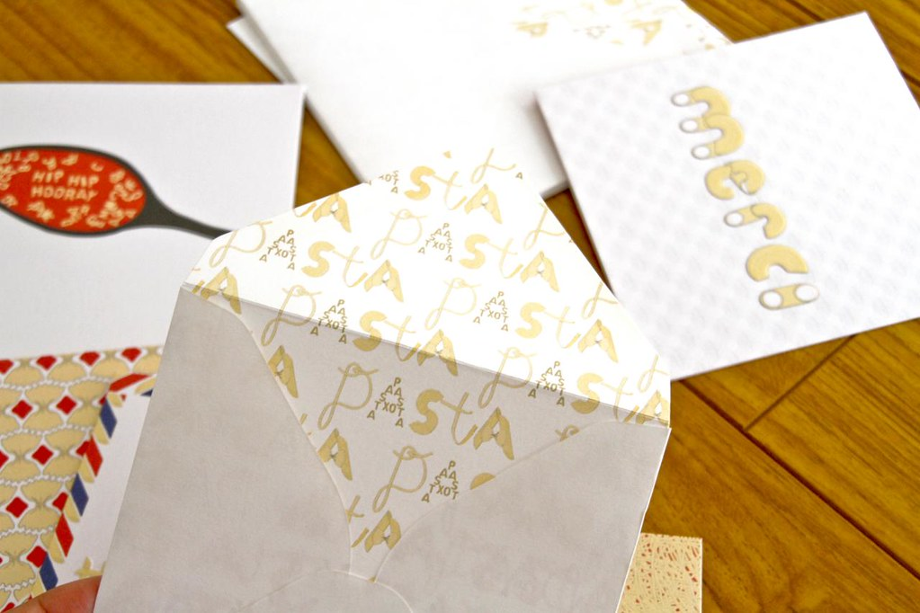 Ham & Pea Spell it with Pasta greeting card envelope