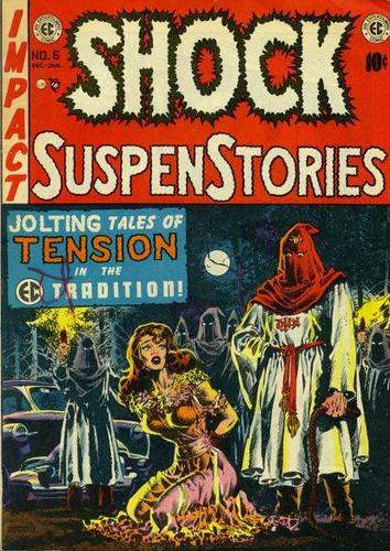 La portada de esta Shock muestra la habilidad de Wood en el entintado, la figura femenina, la puesta en escena y pare usted de contar. Una joya
