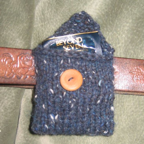 * You know...  knitters will make a cozy for pretty much anything that stands still long enough!  Nifty idea, with the belt loop!
