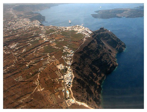 Aerial view of Santorini caldera by you.