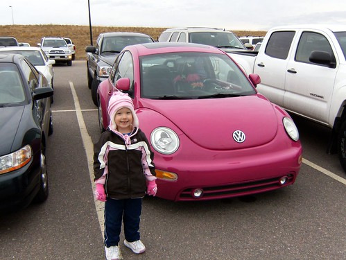 Jessica spotted her dream car, a pink/purple slug-bug.