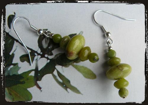 Orecchini verdi crisoprasio - Green Chrysoprase handmade earrings AMHCPVR