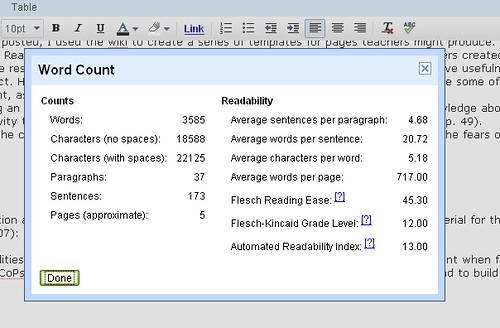 google docs word count tool