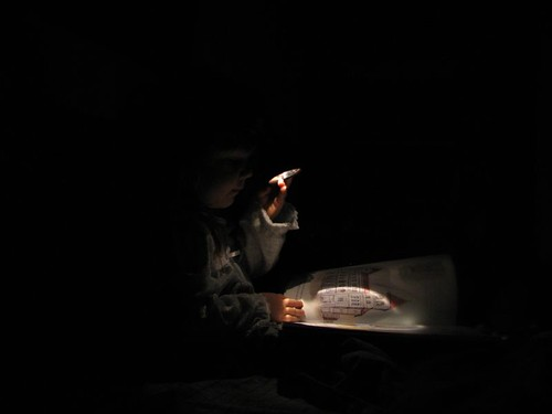 Reading with headlamps