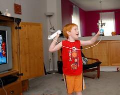 Jacob won!  He KO'd Papa in Wii boxing!
