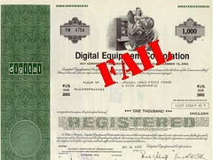 DEC stock certificate: FAIL