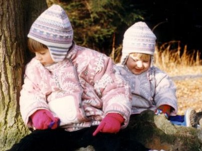 my sister and i sat in a tree wearing clothkits jackets and hats