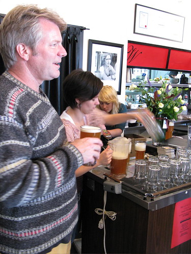 Elysian Brewing brewmaster, Dick Cantwell, welcomes punters to The Whips Real Ale Sunday on September 28, 2008.
