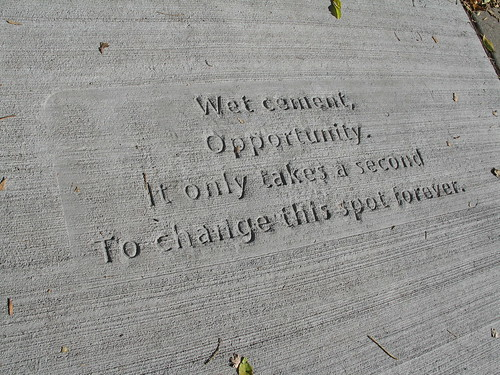 Wet Cement, part of the Everyday Poems for City Sidewalk project, Saint Paul, Minnesota, October 2008, photo © 2008 by QuoinMonkey. All rights reserved