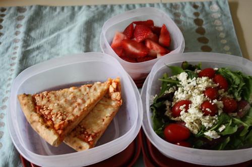 TJ's pizza, salad, strawberries