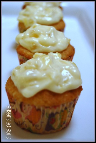 coconut cupcake w/pineapple cream cheese frosting