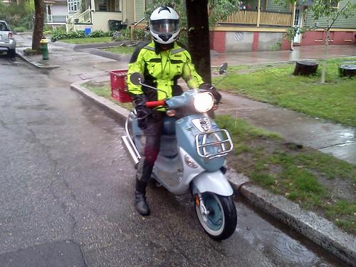 Franz Biberkopf, the Buddy scooter, in the rain...when hi-viz comes in handy