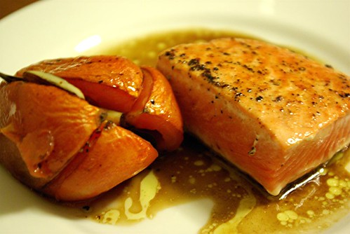 salmon and roasted tomato
