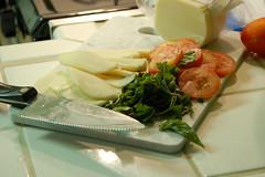 Mozzarella, basil, and tomato toppings ready!