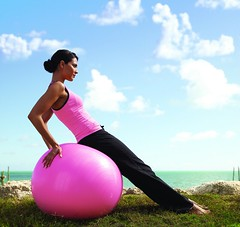 photo remix: Yoga woman on exercise ball - fli...
