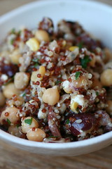 Chickpeas with olives, sdt, feta, quinoa