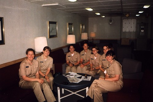 Girls in USS Mount Whitney's Wardroom