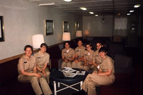 Girls in USS Mount Whitney's Wardroom