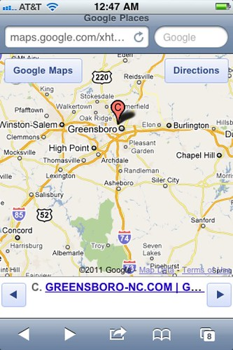iphone screen capture Google Maps Google Places GREENSBORO-NC by Greensboro NC