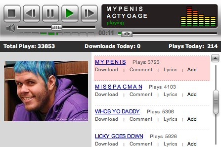 ACTYOAGE Myspace screencap, featuring songs such as MYPENIS