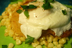 Skillet corn, fried green tomato and poached egg