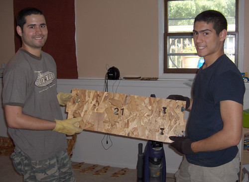 Nick and Joe with the first piece
