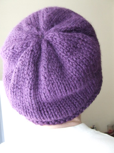Mom modeling the purple rolled brim hat
