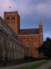 St Albans cathedral at dusk