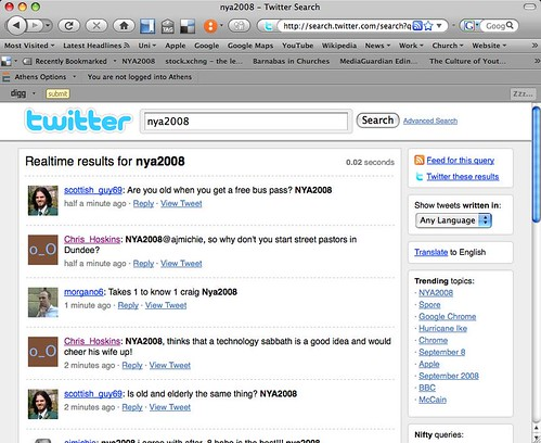 NYA2008 makes the top of Twitters Trending Table!!!