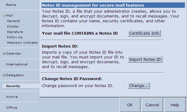 Lotus iNotes security preferences