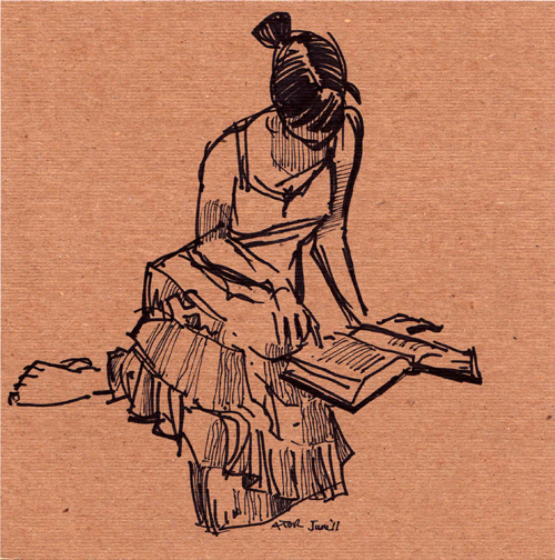 r8r, Figure 1047. Life drawing on found cardboard. Model Reading Bible, 1 of 4, 11. Juni 2011
