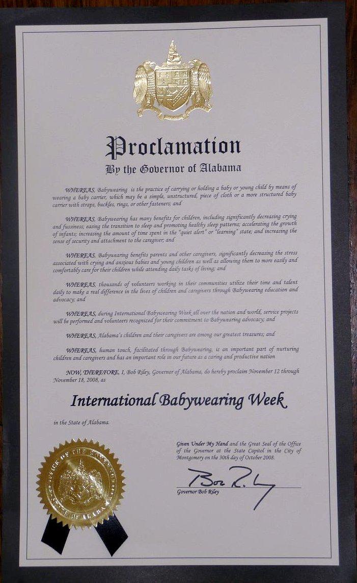 Alabamas Official Proclamation