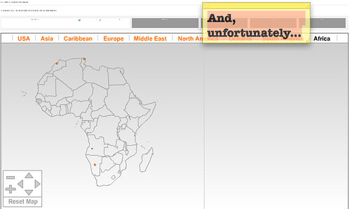 Only 3 (yes, three) out of 600+ entries are from Africa, two of which are in countries confining with Europe.