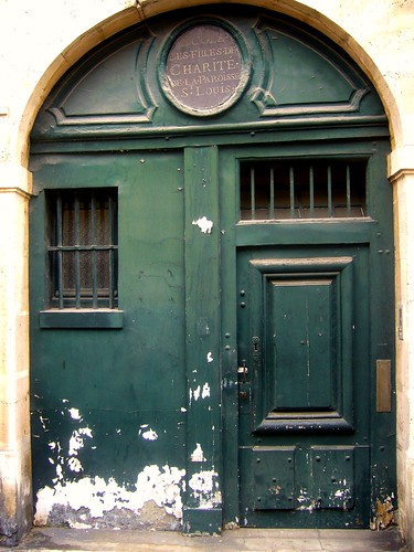 Image: door of old school in Paris